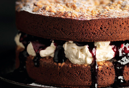 <b> Recipe: </b> Indulge in this spiced white chocolate and blackcurrant crumble cake