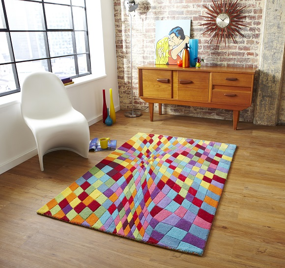 Bright colourful contemporary interiors plantation rugs loft style 580