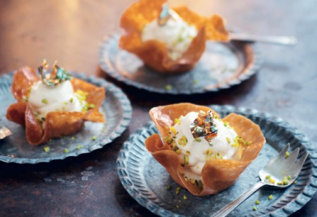 <b> Fesive food: </b> Impressive brandy snap baskets with syllabub