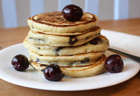 <b> Fluffy and fruity </b>: Cherry and chocolate pancakes
