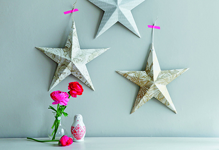 <b> Christmas Craft: </b> How to make folk art wall stars and garlands